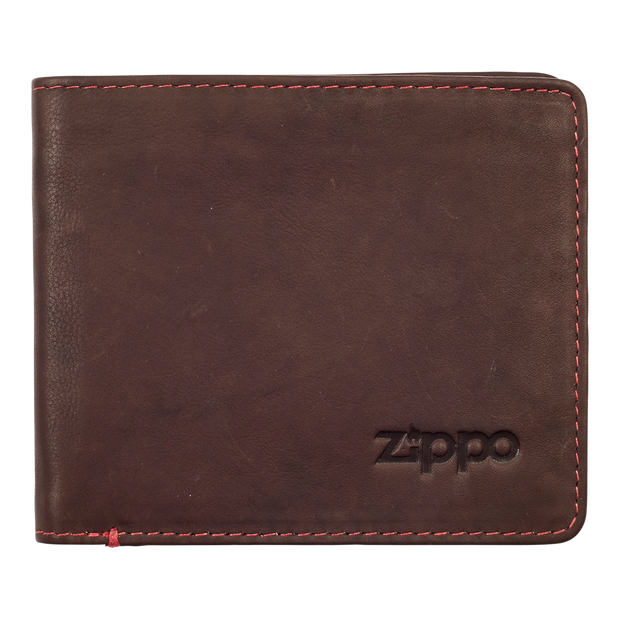 Zippo Leather Bifold Wallet (Brown) - Front View