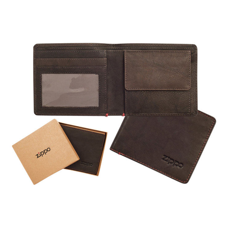 Zippo Leather Bifold Coin Pocket Wallet (Mocha) - Complete View
