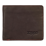 Zippo Leather Bifold Coin Pocket Wallet (Mocha) - Front View