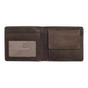 Zippo Leather Bifold Coin Pocket Wallet (Mocha) - Open View