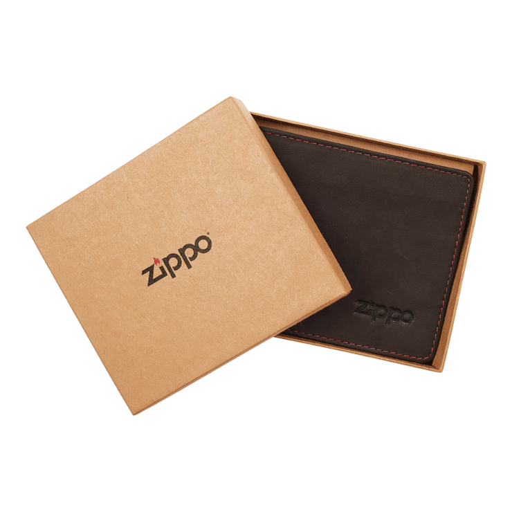 Zippo Leather Bifold Coin Pocket Wallet (Mocha) - Packaging
