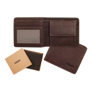 Zippo Leather Bifold Coin Pocket Wallet (Brown) - Complete View