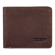 Zippo Leather Bifold Coin Pocket Wallet (Brown) - Front View