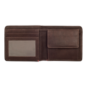 Zippo Leather Bifold Coin Pocket Wallet (Brown) - Open View