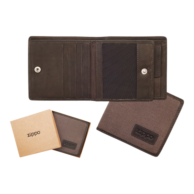 Zippo Leather & Canvas Bifold Coin Pocket Wallet - Complete View