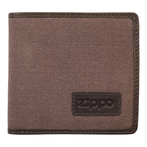 Zippo Leather & Canvas Bifold Coin Pocket Wallet - Front View