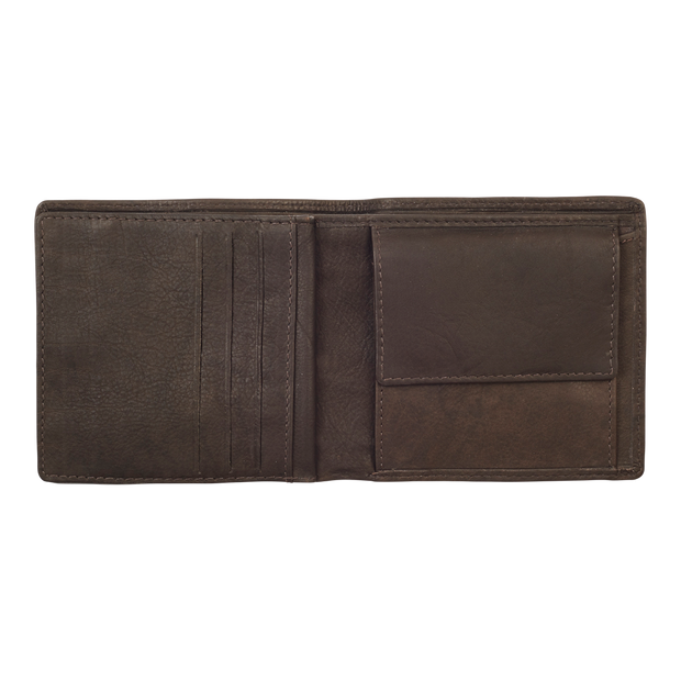 Zippo Leather & Canvas Bifold Coin Pocket Wallet - Coin Pocket