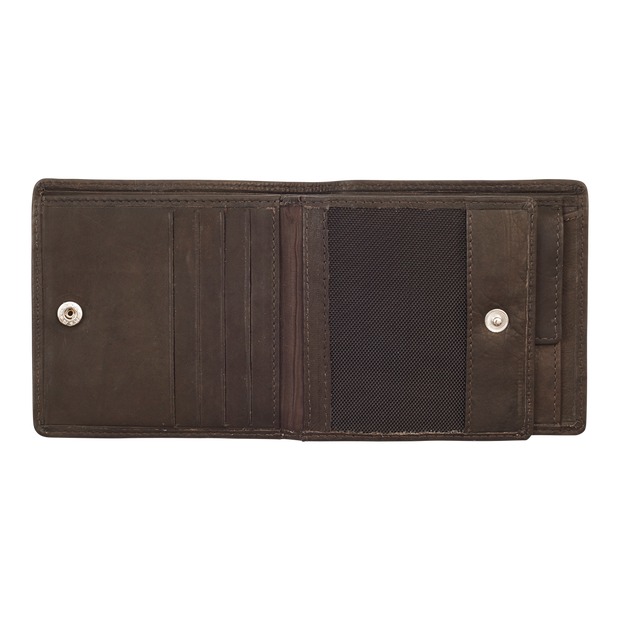 Zippo Leather & Canvas Bifold Coin Pocket Wallet - Card Slots
