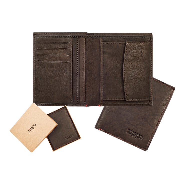 Zippo Leather Vertical Wallet (Mocha) - Complete View