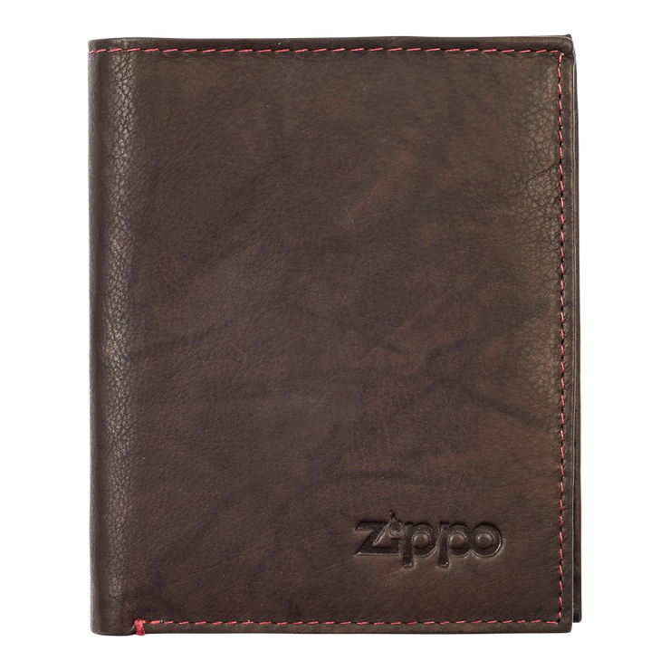 Zippo Leather Vertical Wallet (Mocha) - Front View