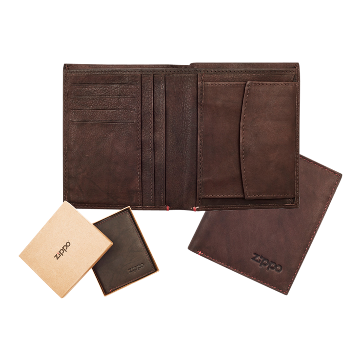 Zippo Leather Vertical Wallet (Brown) - Complete View