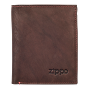 Zippo Leather Vertical Wallet (Brown) - Front View