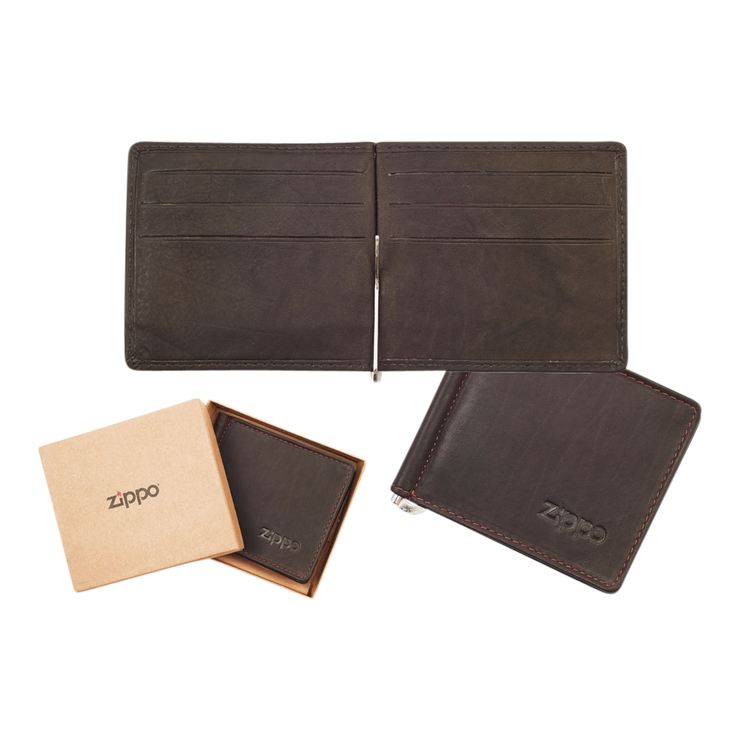 Zippo Leather Bifold Money Clip Wallet (Mocha) - Complete View