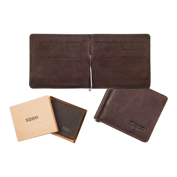 Zippo Leather Bifold Money Clip Wallet (Brown) - Complete View
