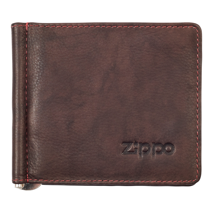 Zippo Leather Bifold Money Clip Wallet (Brown) - Front View