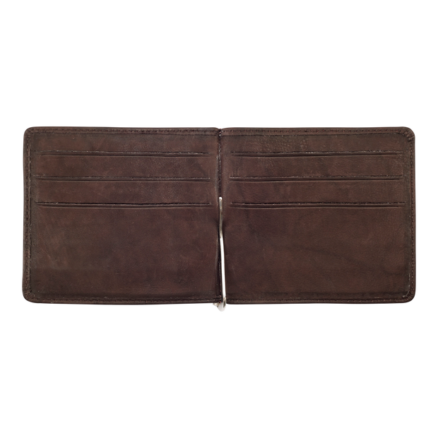 Zippo Leather Bifold Money Clip Wallet (Brown) - Open View