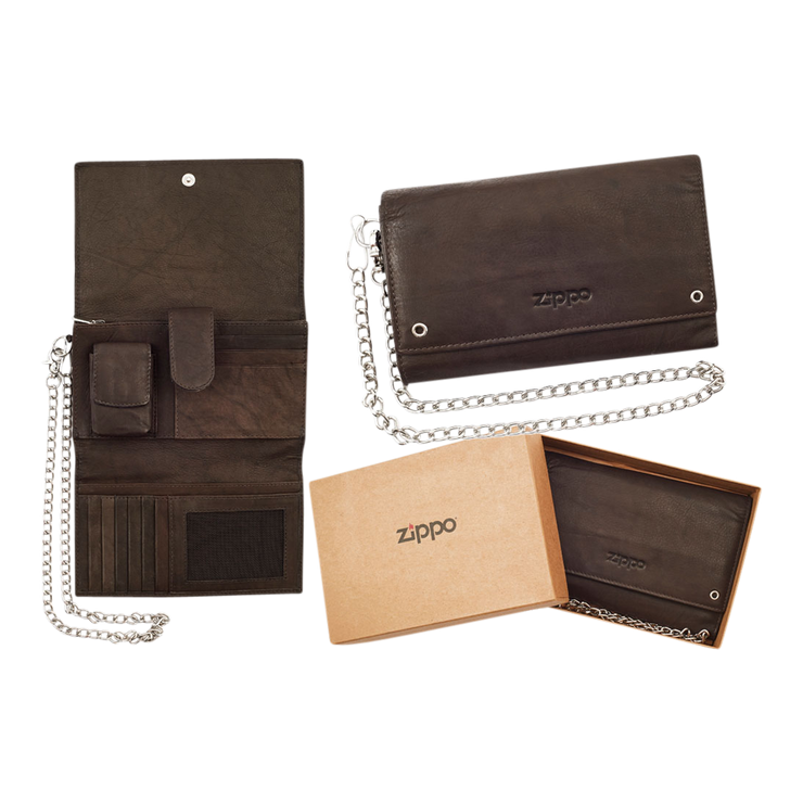Zippo Leather Biker Wallet - Complete View