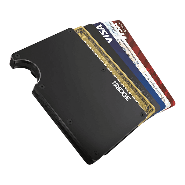 The Ridge Aluminium Money Clip Wallet (Black) - Cards Fanned