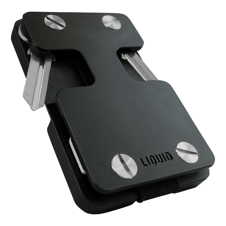 Liquid Carry Aluminium Wallet (Matte Black / Silver Screws) - Front View