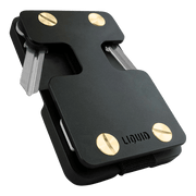 Liquid Carry Aluminium Wallet (Matte Black / Gold Screws) - Front View