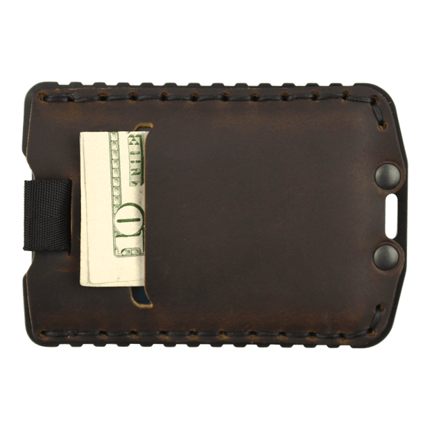 Trayvax Ascent Wallet (Black Metal/Mississippi Mud Leather) - Back View