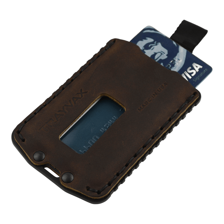 Trayvax Ascent Wallet (Black Metal/Mississippi Mud Leather) - Angled View