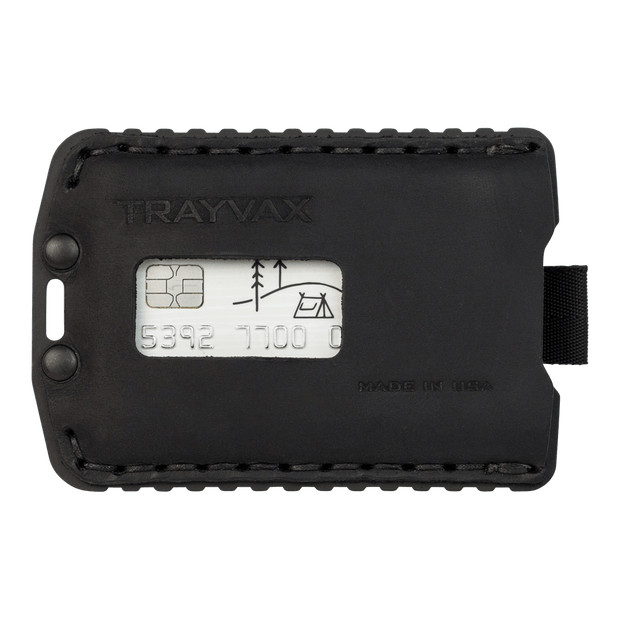 Trayvax Ascent Wallet (Black Metal/Stealth Black Leather) - Front View