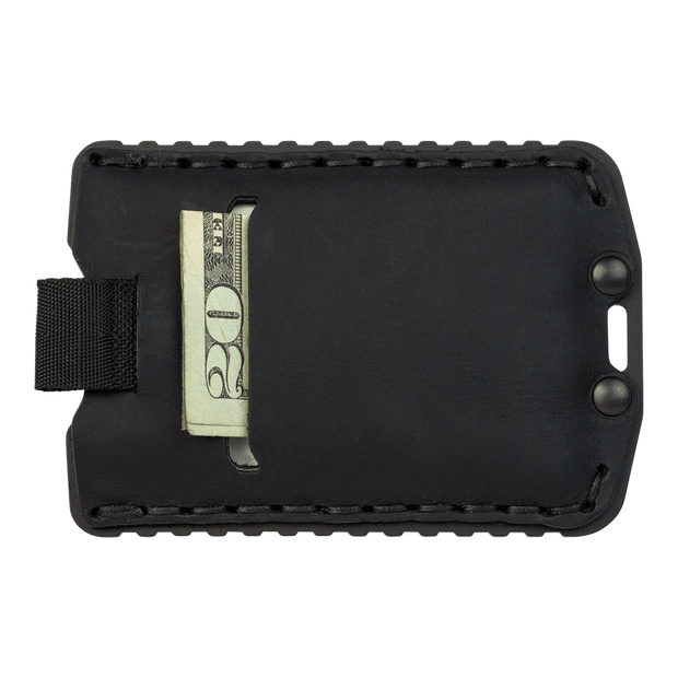 Trayvax Ascent Wallet (Black Metal/Stealth Black Leather) - Back View