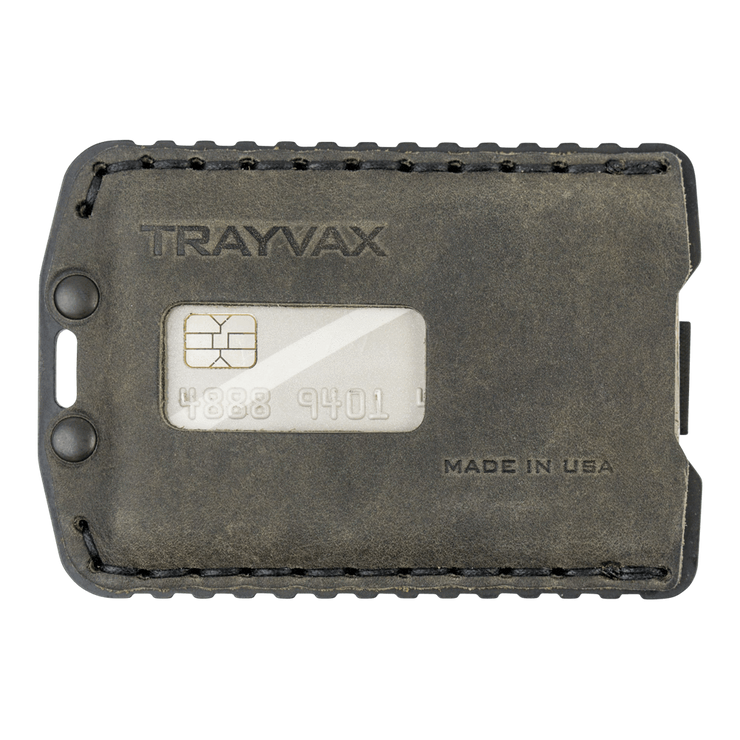 Trayvax Ascent Wallet (Black Metal/Steel Grey Leather) - Front View