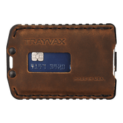 Trayvax Ascent Wallet (Black Metal/Tobacco Brown Leather) - Front View