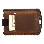 Trayvax Ascent Wallet (Black Metal/Tobacco Brown Leather) - Back View