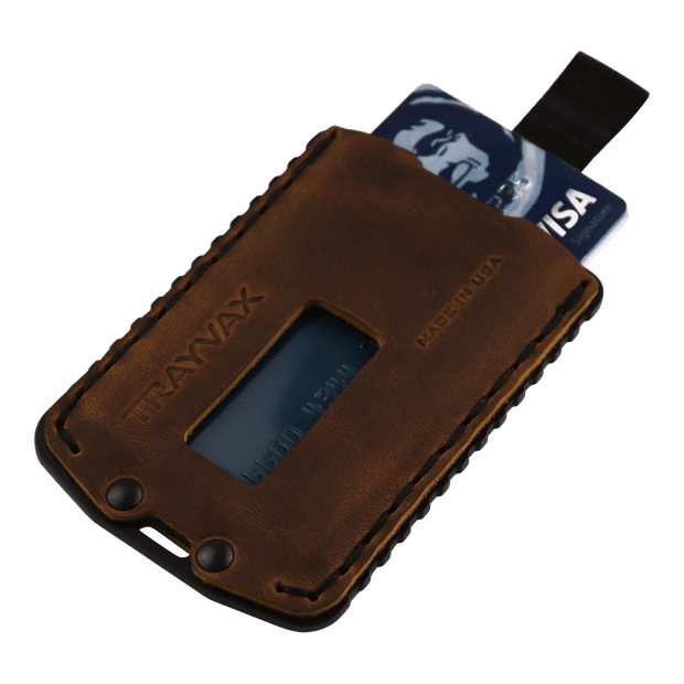 Trayvax Ascent Wallet (Black Metal/Tobacco Brown Leather) - Angled View