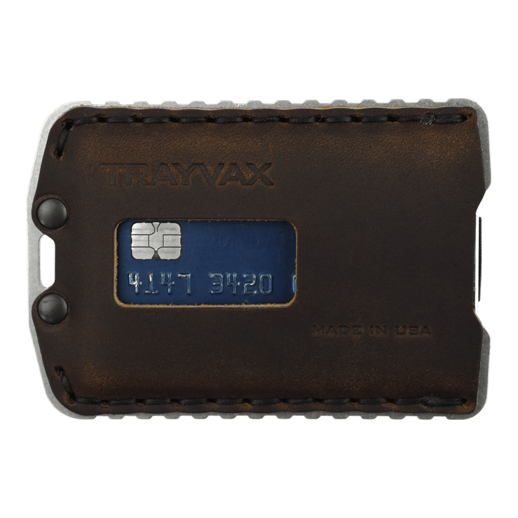 Trayvax Ascent Wallet (Raw Metal/Mississippi Mud Leather) - Front View