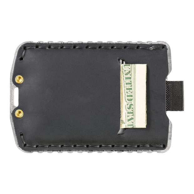 Trayvax Ascent Wallet (Raw Metal/Stealth Black Leather) - Back View