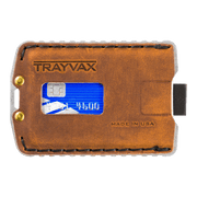Trayvax Ascent Wallet (Raw Metal/Tobacco Brown Leather) - Front View