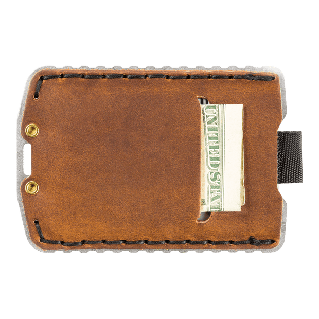 Trayvax Ascent Wallet (Raw Metal/Tobacco Brown Leather) - Back View