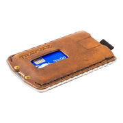 Trayvax Ascent Wallet (Raw Metal/Tobacco Brown Leather) - Angled View