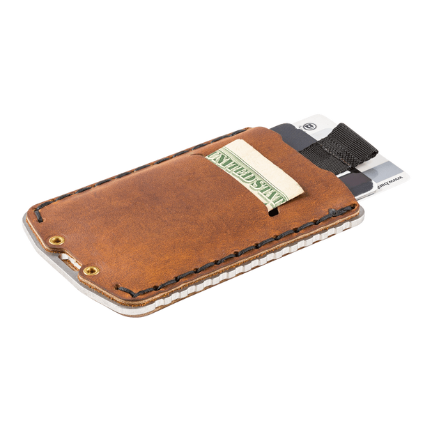 Trayvax Ascent Wallet (Raw Metal/Tobacco Brown Leather) - Mil-Spec Pull Tab