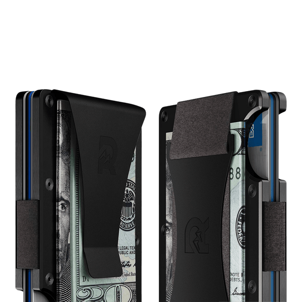 The Ridge Aluminium Money Clip Wallet (Black) - Cash Strap & Money Clip