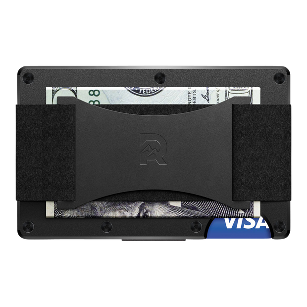 The Ridge Aluminium Cash Strap Wallet (Black) - Back View