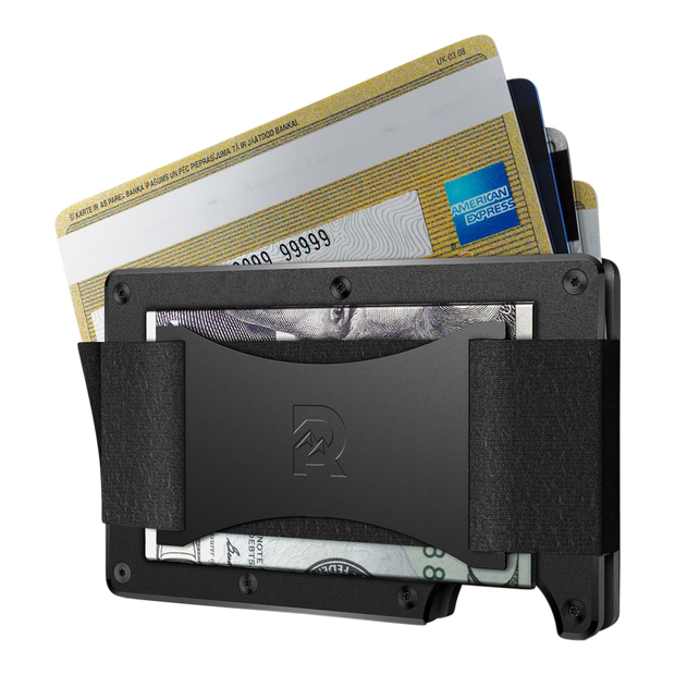 The Ridge Aluminium Cash Strap Wallet (Black) - Cash Strap