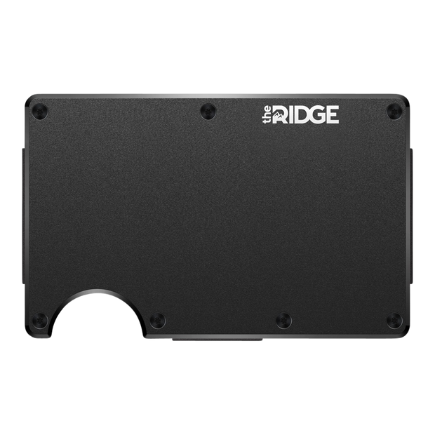 The Ridge Aluminium Cash Strap & Money Clip Wallet (Black) - Front View