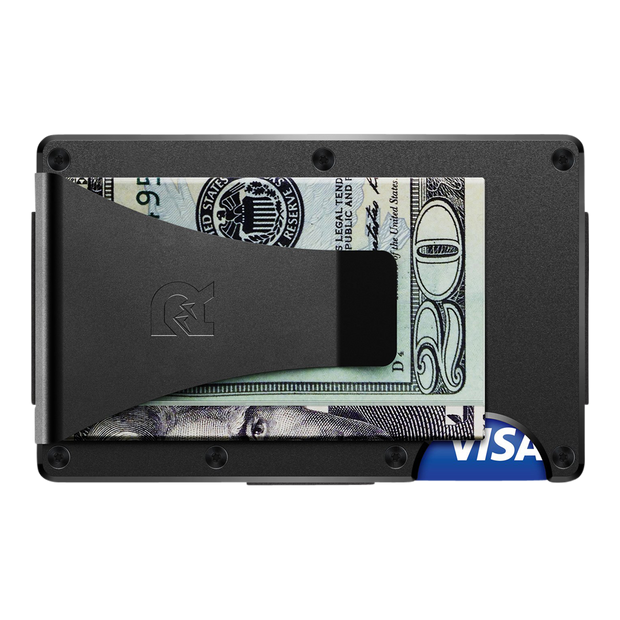 The Ridge Aluminium Cash Strap & Money Clip Wallet (Black) - Money Clip Back View