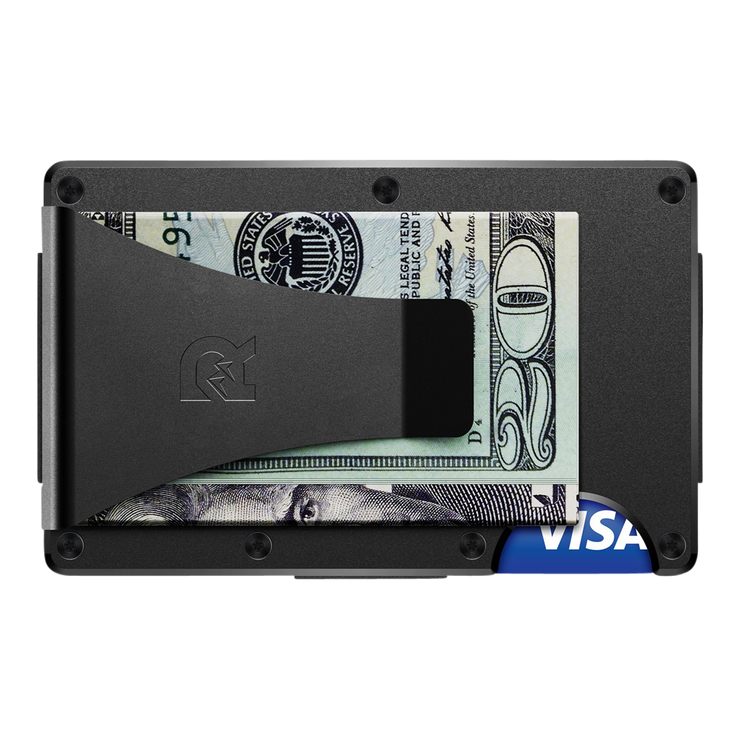 The Ridge Aluminium Money Clip Wallet (Black) - Back View