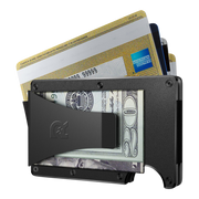 The Ridge Aluminium Cash Strap & Money Clip Wallet (Black) - Money Clip