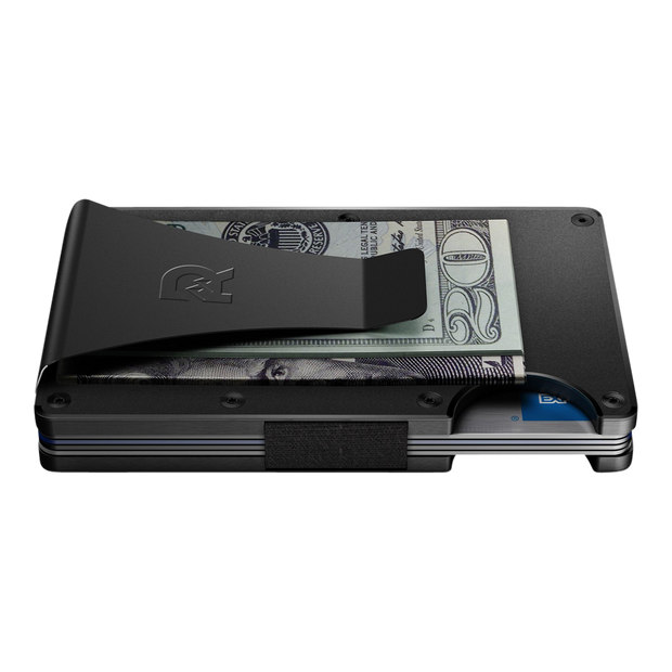 The Ridge Aluminium Cash Strap & Money Clip Wallet (Black) - Money Clip Side View
