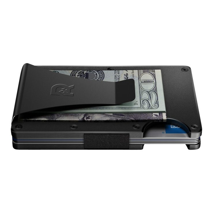 The Ridge Aluminium Money Clip Wallet (Black) - Side View
