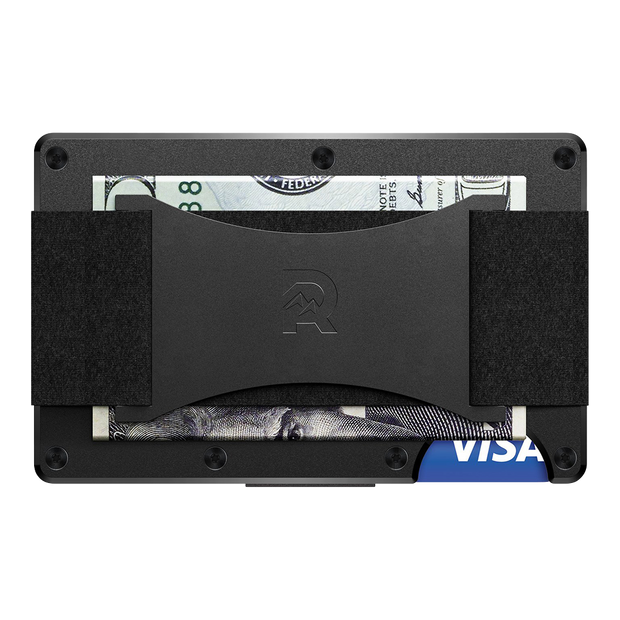The Ridge Titanium Cash Strap Wallet (Black) - Back View