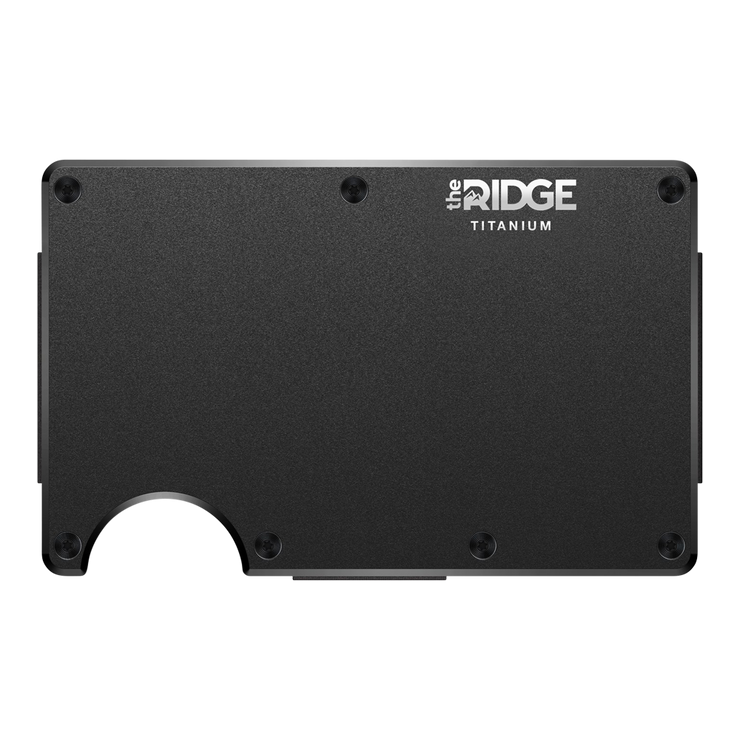 The Ridge Titanium Money Clip Wallet (Black) - Front View