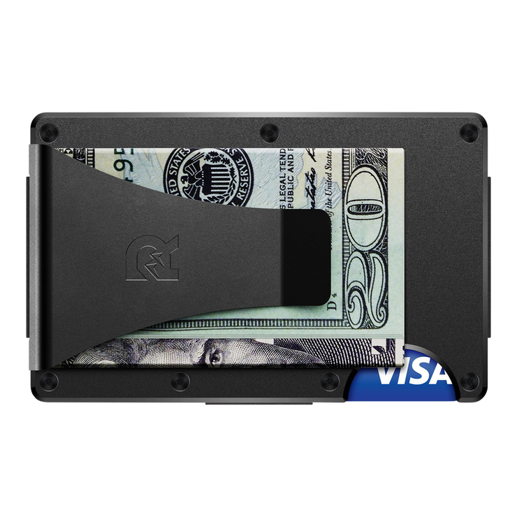 The Ridge Titanium Money Clip Wallet (Black) - Back View